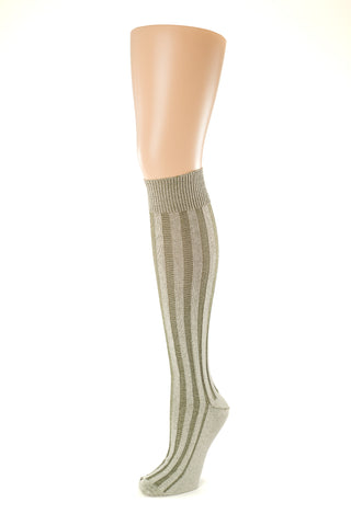 Delp Stockings, Vertical Ribbed Cotton SALE Stockings. Olive Green and Cream color side view.