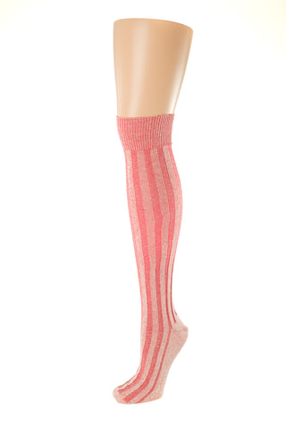 Delp Stockings, Vertical Ribbed Cotton SALE Stockings. Red and Cream color side view.