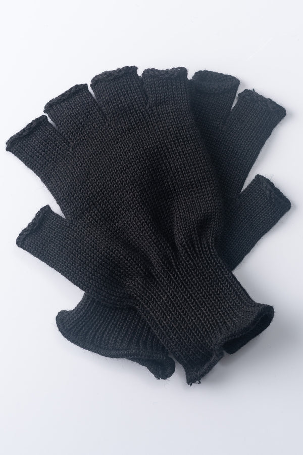 Delp Stockings, Wool Fingerless Gloves. Black color flat view of both gloves.