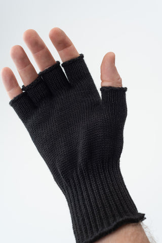 Delp Stockings, Wool Fingerless Gloves. Black color on model, palm side view.