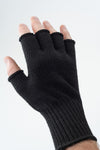 Delp Stockings, Wool Fingerless Gloves. Black color on model, back side view.