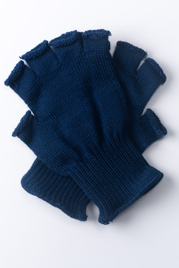 Delp Stockings, Wool Fingerless Gloves. Blue color, flat view of both gloves.