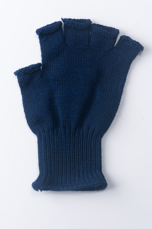Delp Stockings, Wool Fingerless Gloves. Blue color flat view of single glove.