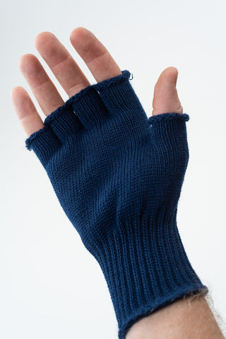 Delp Stockings, Wool Fingerless Gloves. Blue color on model, palm side view.