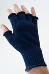 Delp Stockings, Wool Fingerless Gloves. Blue color on model, back side view.
