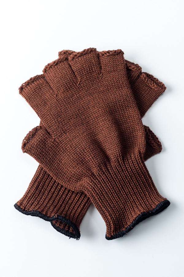 Delp Stockings, Wool Fingerless Gloves. Brown color, flat view of both gloves.