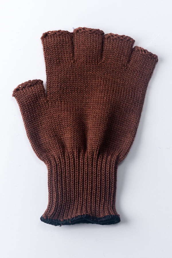 Delp Stockings, Wool Fingerless Gloves. Brown color flat view of single glove.