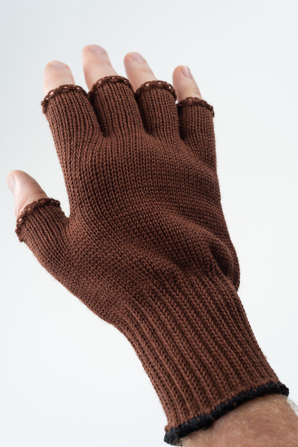 Delp Stockings, Wool Fingerless Gloves. Brown color on model, back side view.