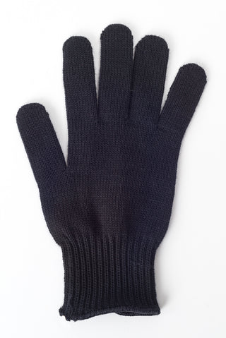 Delp Stockings, Wool Gloves. Black color flat view of single glove.