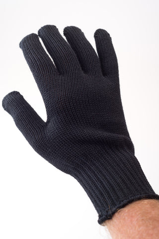Delp Stockings, Wool Gloves. Black color on model, palm side view.
