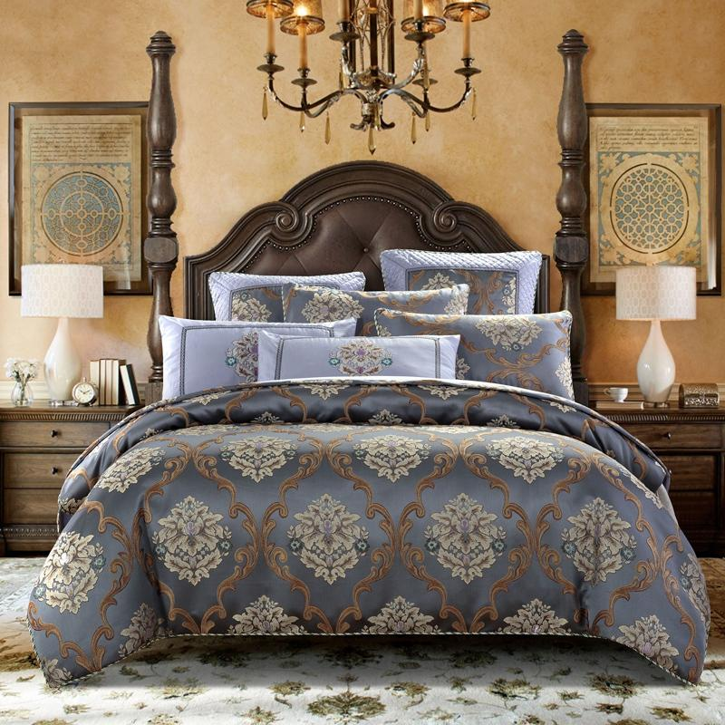 Caltada Brown Coffee jacquard cotton stain Luxury Duvet Cover Set