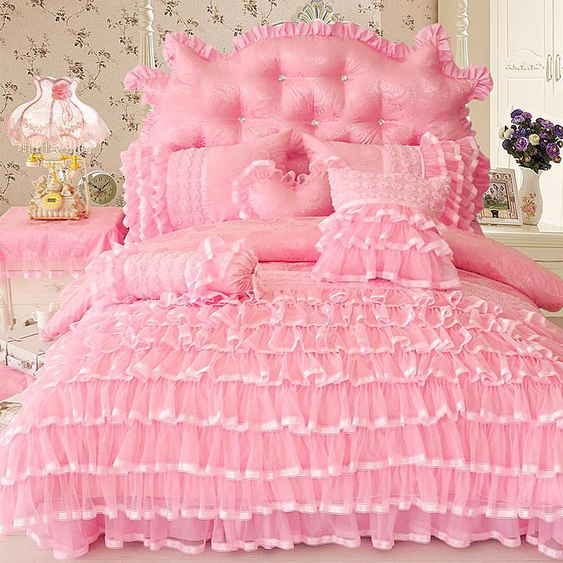 Aaliyah Triple Layered Ruffled Cotton And Lace Duvet Cover And Bed Skirt Set
