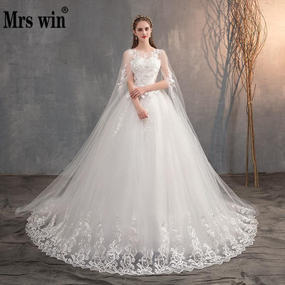 Wedding Dress With Long Cap, Lace Wedding Gown With Long Train Embroidery