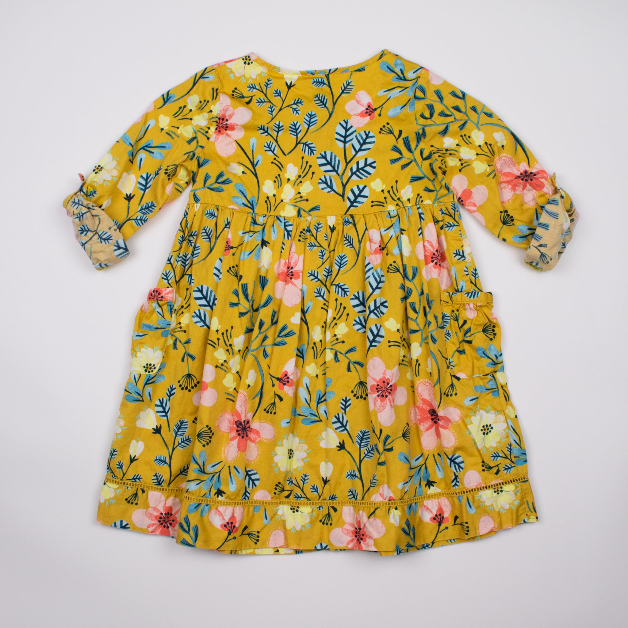 Yellow Floral 3/4 Sleeve Dress 5-6Y