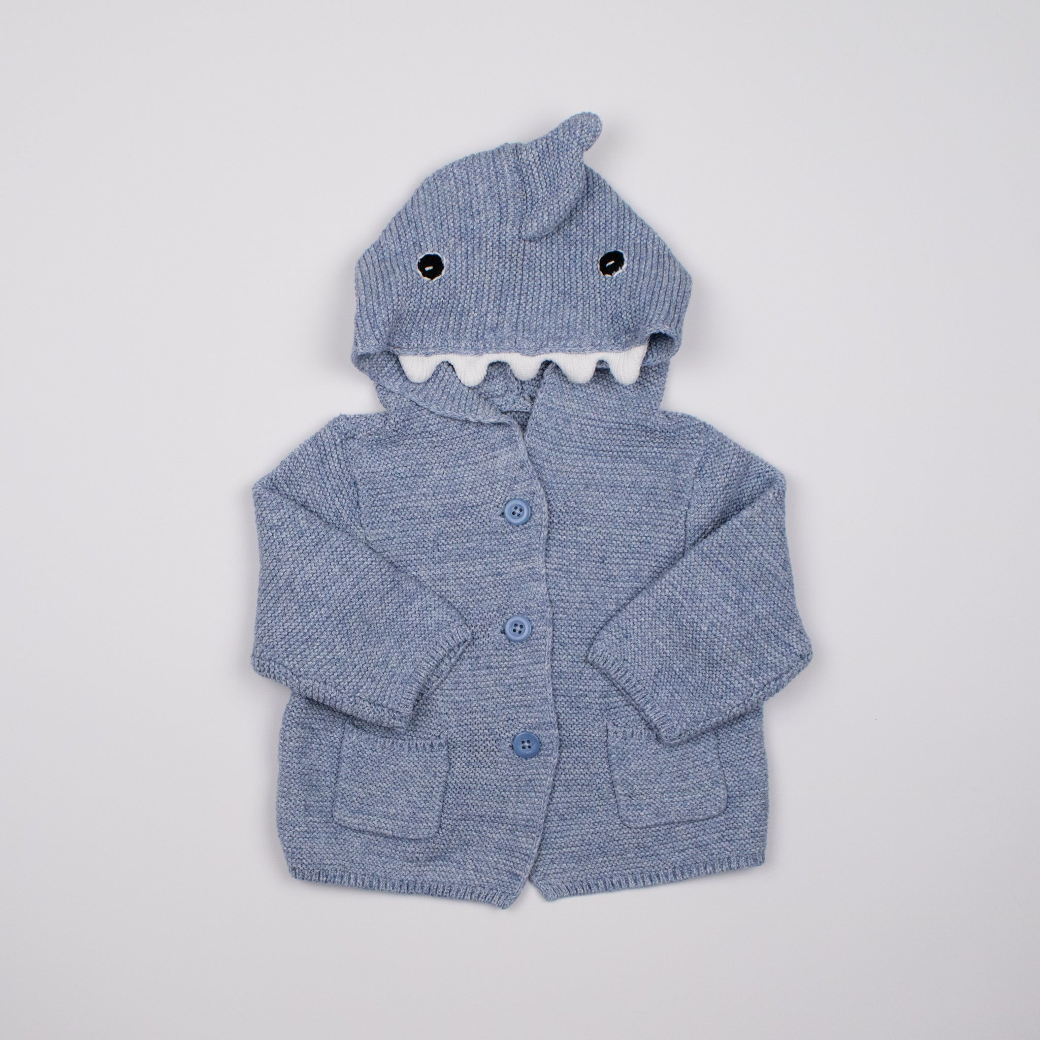 Light Blue Shark Knit Hoodie 0-1Y