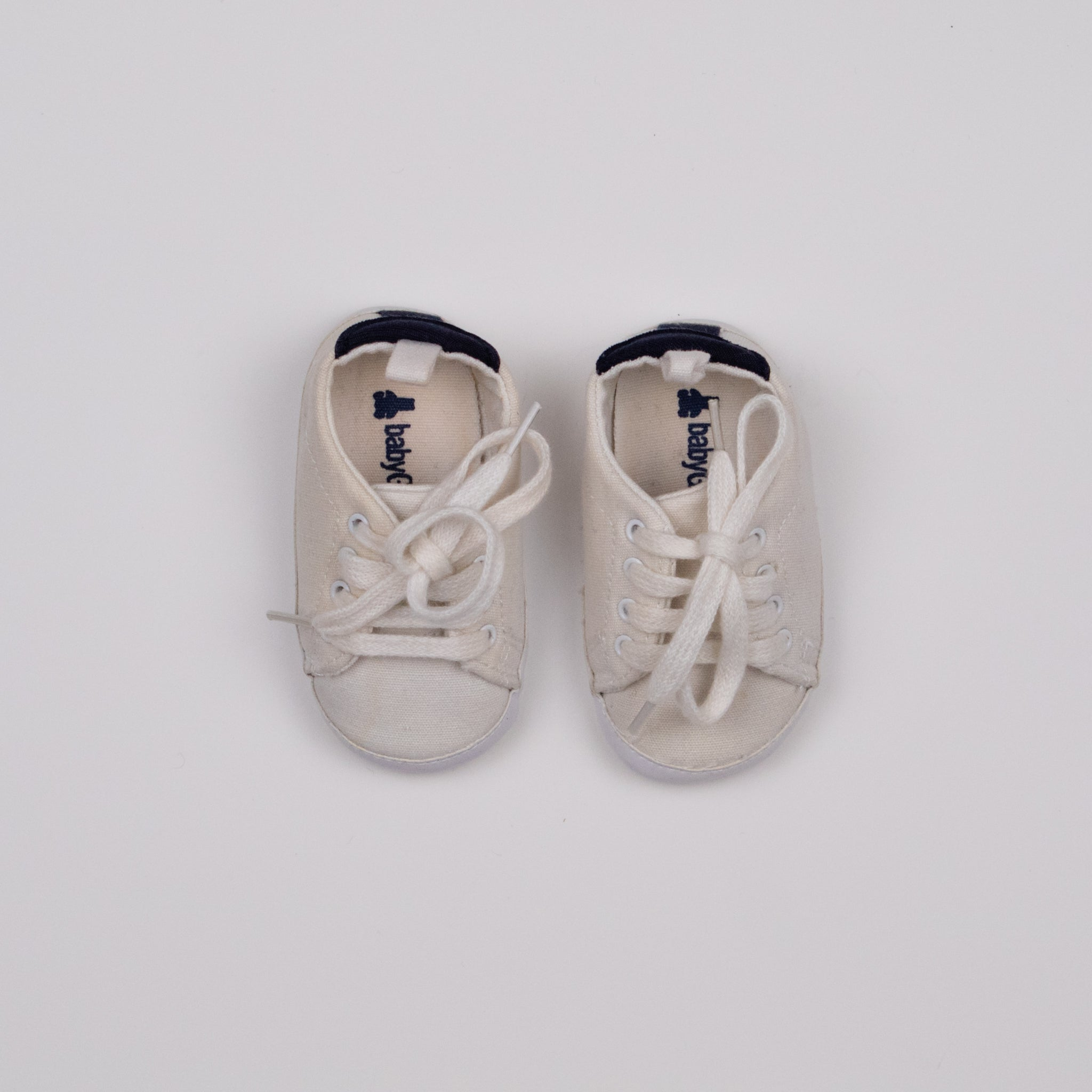 White Lace Up Crib Shoes Size 2