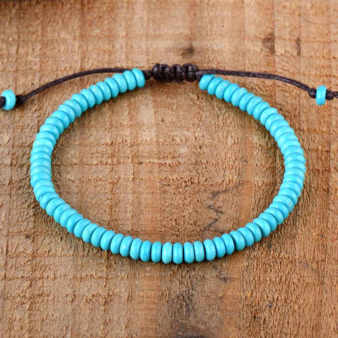 Turquoise Stone Small Bead String Adjustable Jewelry Bracelet for Men and Women-Lulata