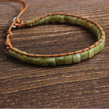 Load image into Gallery viewer, Square Green Bead Jade Stone Bracelet for Men and Women-Lulata
