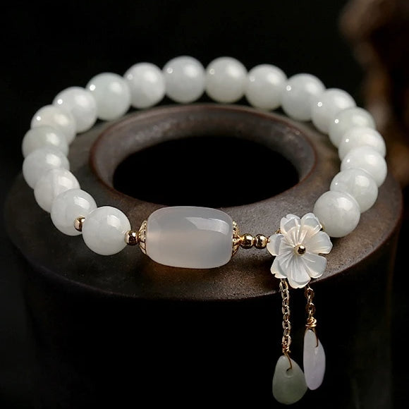 Jade Beads Charm Bracelet with Shell Flower for Women-Lulata