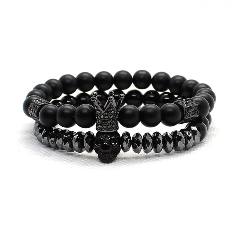 Mens Beaded Bracelets Black Crown Skull-Lulata