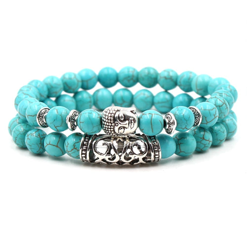 9 Variations Turquoise Buddha Bead Bracelet Sets For Men and Women-Lulata