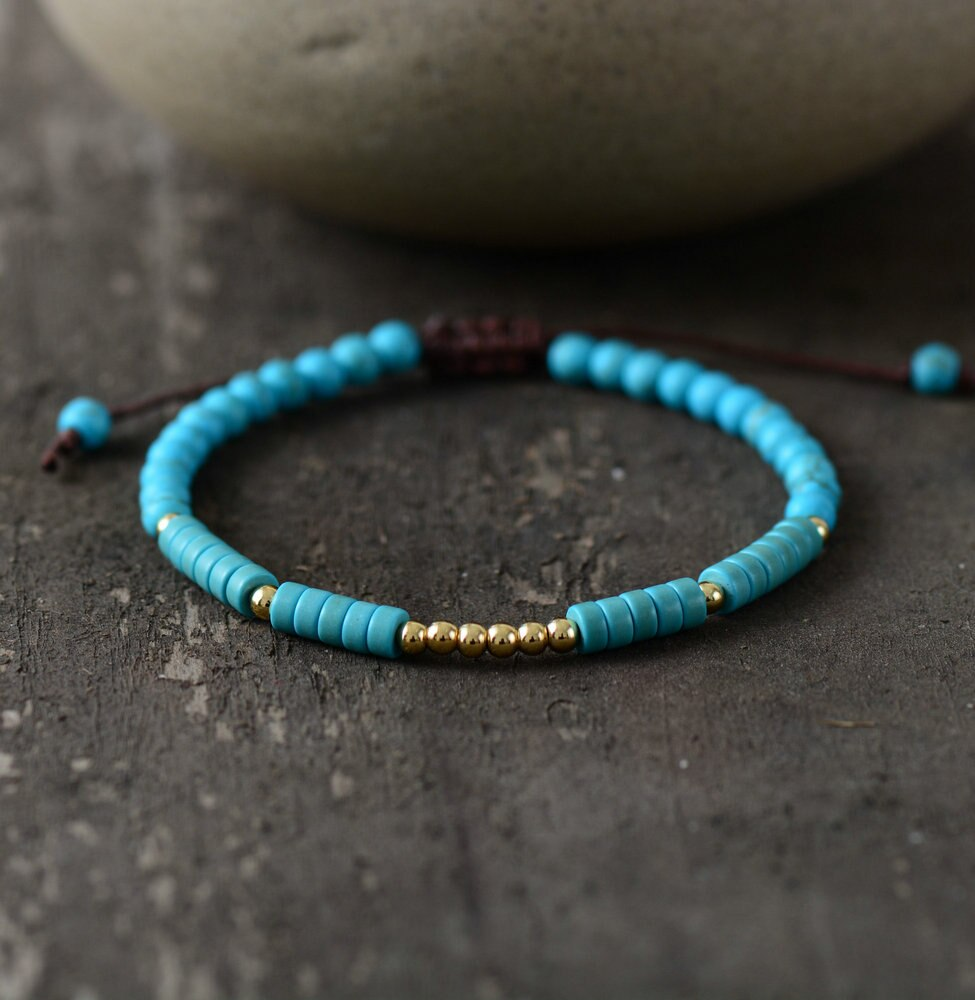 Tibetan Turquoise Stone Bead Jewelry Bracelet for Men and Women-Lulata