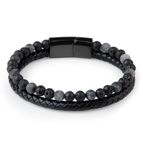 Leather and Natural Stone Beads Black Lava Bracelet Magnetic Lock-Lulata