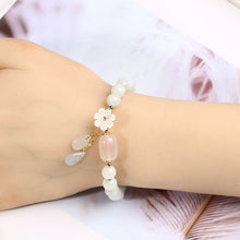 Load image into Gallery viewer, Jade Beads Charm Bracelet with Shell Flower for Women-Lulata