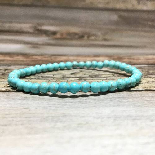 Small Stone Bead Turquoise Bracelet for Men and Women-Lulata