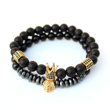 Load image into Gallery viewer, Mens Beaded Bracelets Black Crown Skull-Lulata