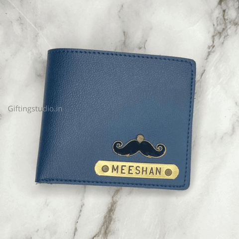 customized men's wallet - blue