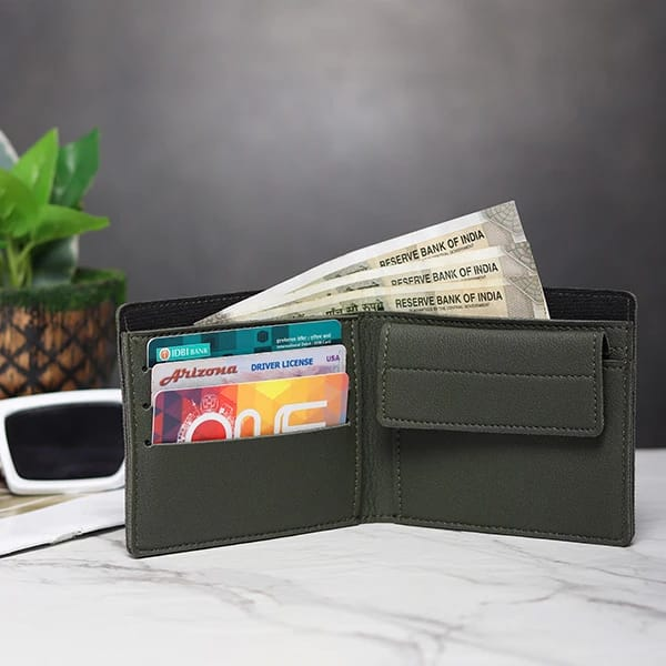 Customized Men's Wallet - Olive Green