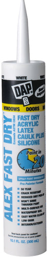 DAP 18425 White Alex Fast Dry Acrylic Latex Caulk Plus Silicone 10.1oz