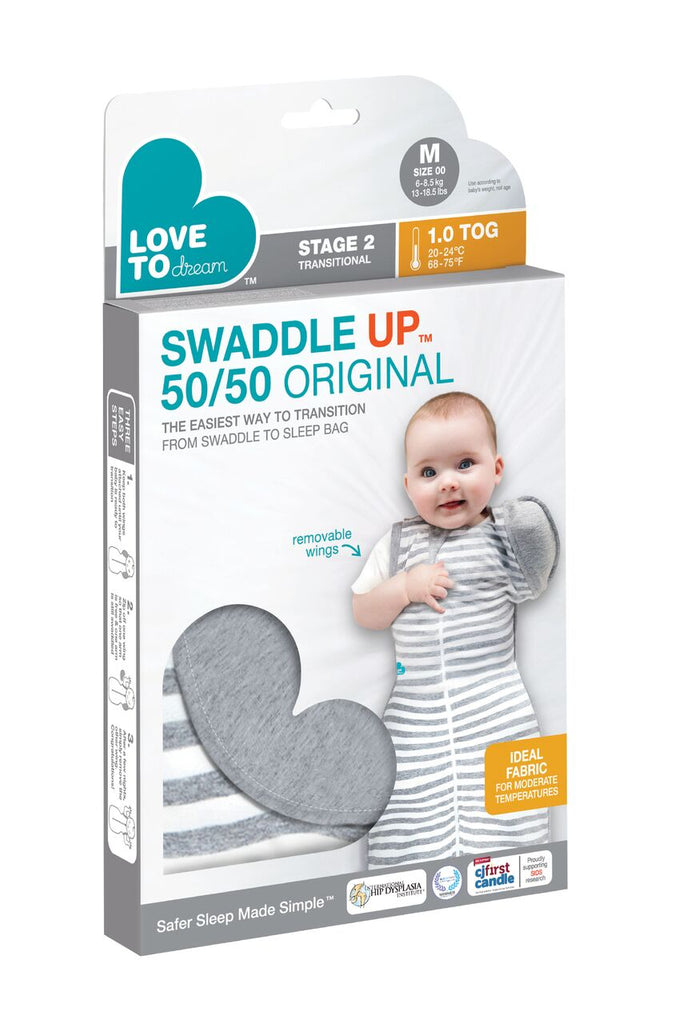 Swaddle UP® 50/50 Transition Bag Original - 1.0 TOG Grey - Unique Baby Store