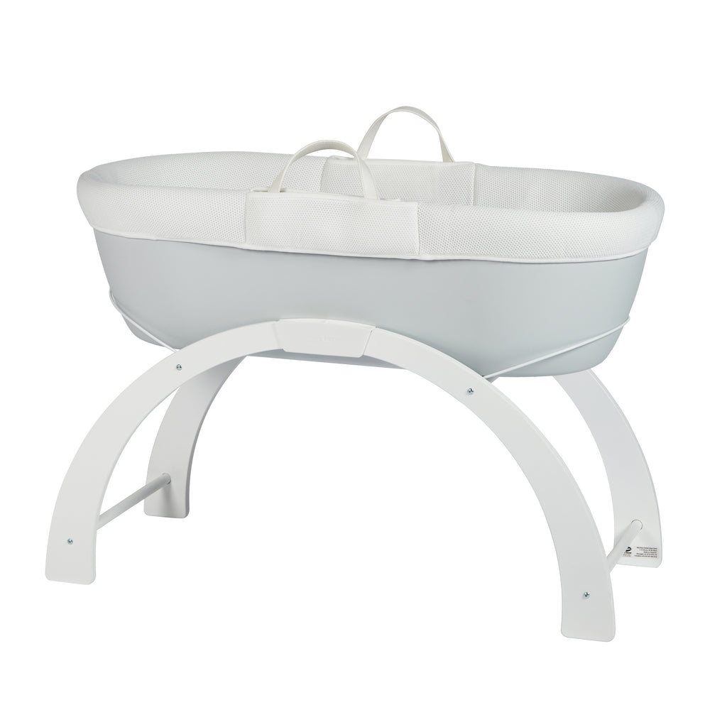 Shnuggle Dreami Moses basket with Stand Pebble Grey - Unique Baby Store
