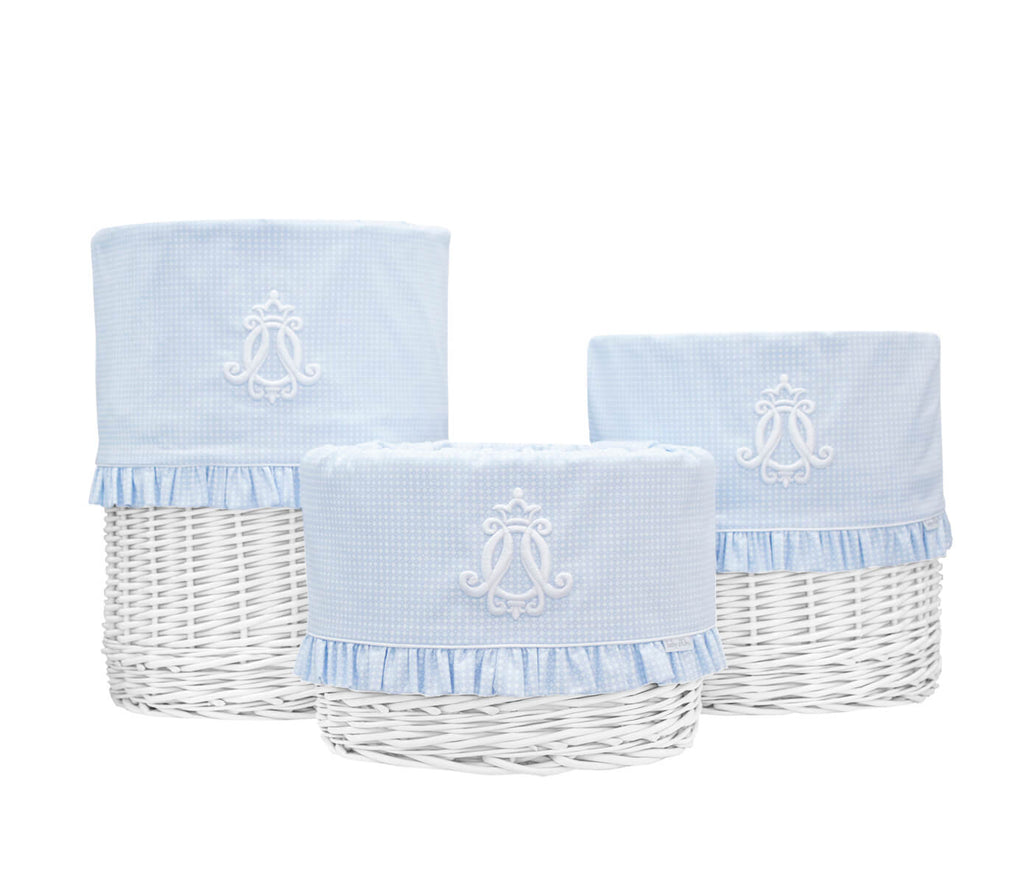Baby d'Oro Medium White Round Basket Cheverny Blue - Unique Baby Store