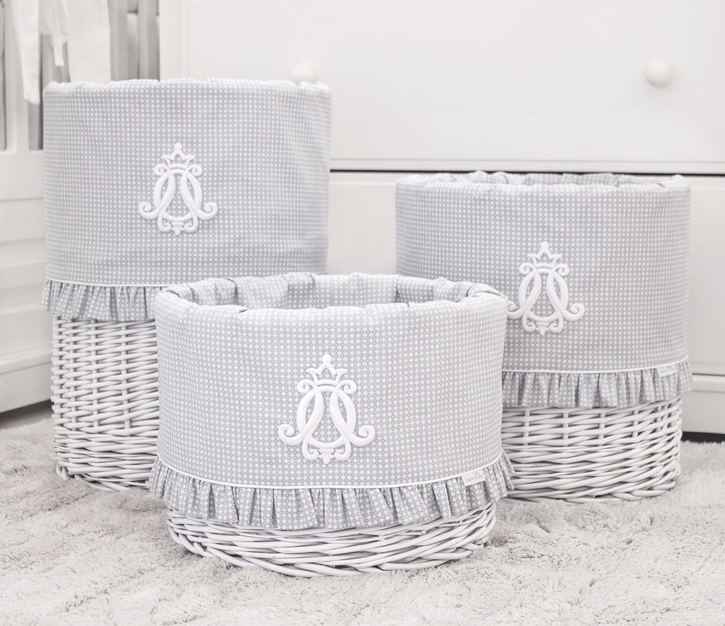 Baby d'Oro Large White Round Basket Cheverny Grey - Unique Baby Store