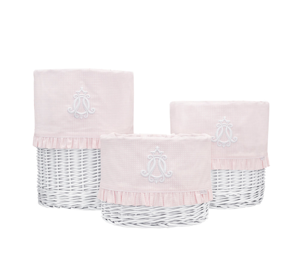 Baby d'Oro Large White Round Basket Cheverny Pink - Unique Baby Store