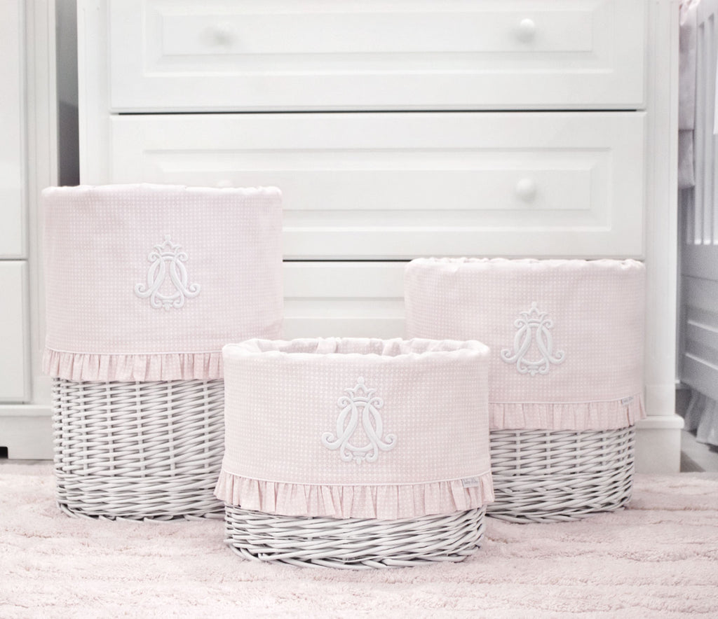 Baby d'Oro Small White Round Basket Cheverny Pink - Unique Baby Store