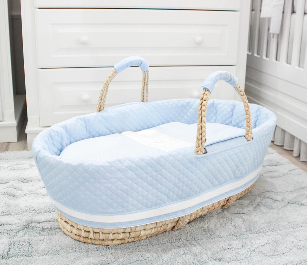 Baby d'Oro Moses Basket Blue - Unique Baby Store