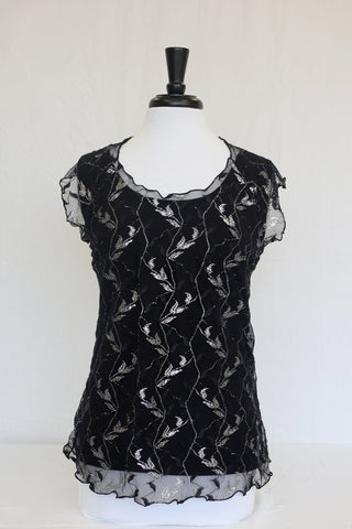 black & silver lace overlay - front