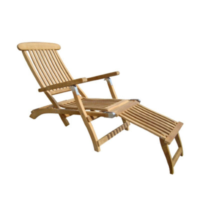 Steamer Solid Teak Folding Lounge with five reclining positions and  detachable footrest by Royal Teak Collection.