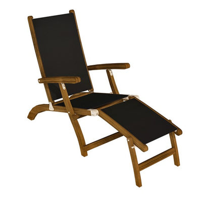 Sling Steamer Folding Lounge with Black Sling by Royal Teak Collection .