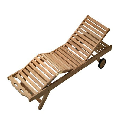 Sun Bed Solid Teak Reclining Lounge by Royal Teak Collection with five reclining positions and beverage tray.