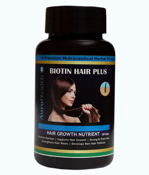 AuroHealth Biotin Hair Plus Supports Hair Growth, Strengthens Hair Roots and Develops New Hair Folicles - 60 Capsules 500mg