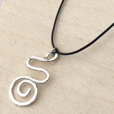 Casual Squiggle Hammered Sterling Silver Leather Necklace