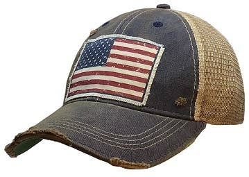 American Flag Distressed Trucker Cap