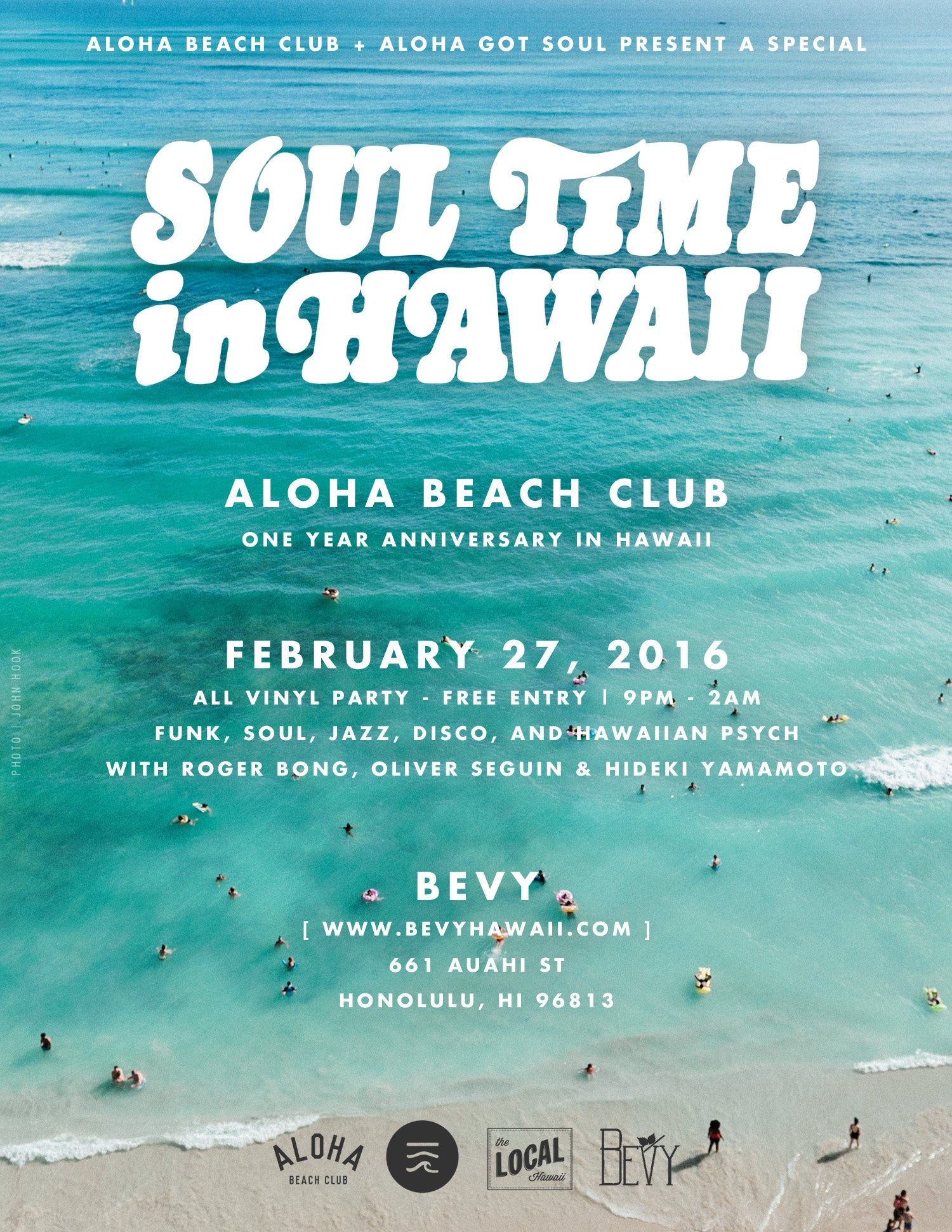Aloha Beach Club and Aloha Got Soul Present a special Soul Time in Hawaii at Bevy