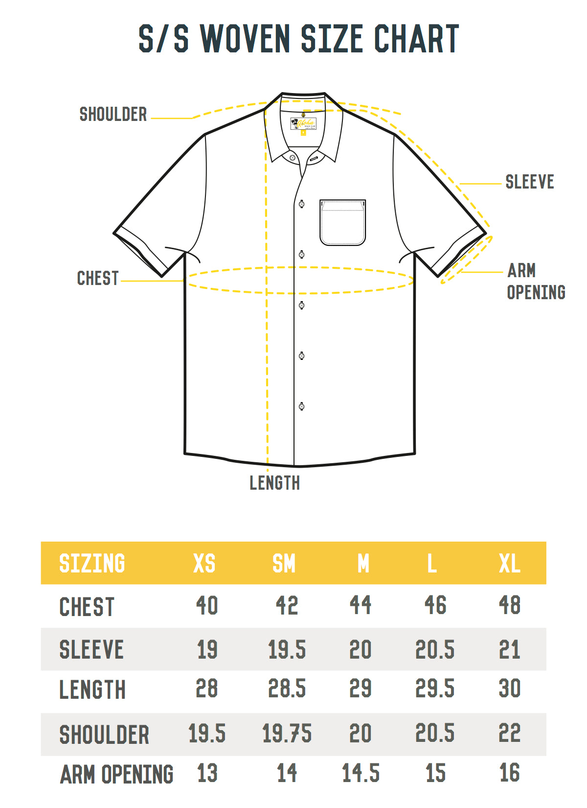 Aloha Beach Club Short Sleeve Woven Shirt Size Chart