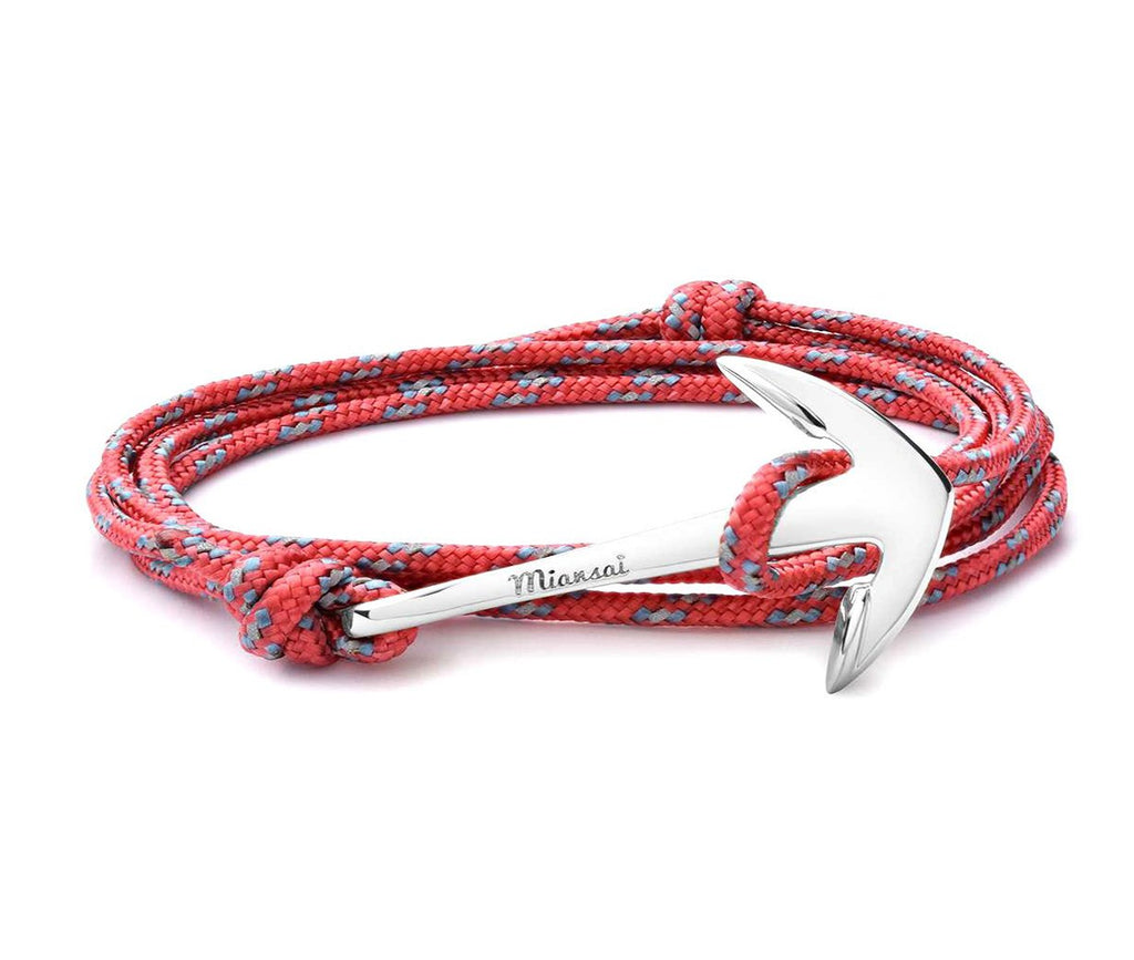 Miansai - Anchor on rope bracelet silver hook salmon rope